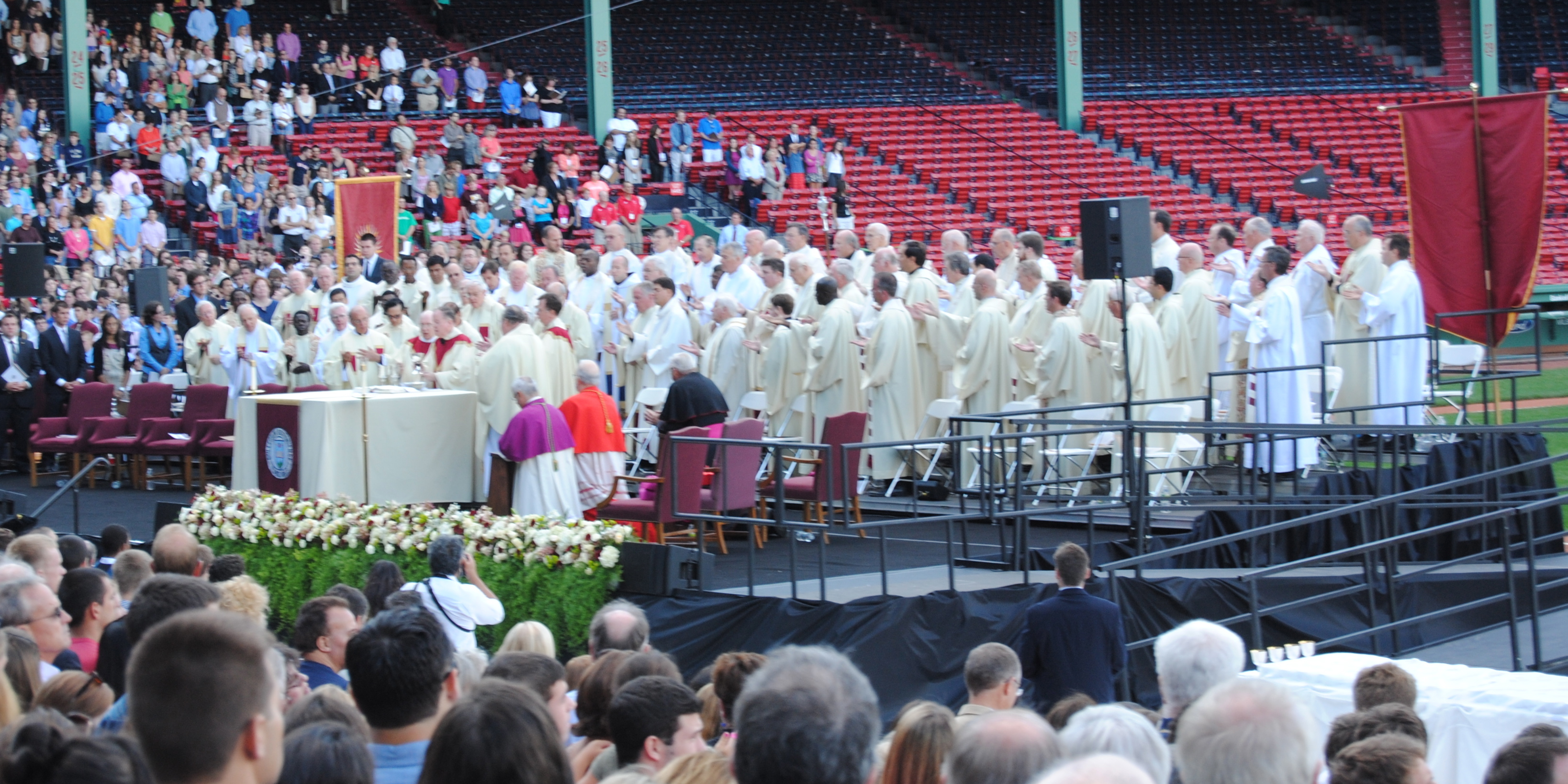 The Jesuits of Boston College came together yesterday to celebrate the 150th anniversary of the elite Catholic university.